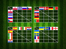 4x4 Table score , group A B C D. Soccer ( Football ) 4x4 Table score , group A B C D Royalty Free Stock Image