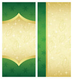 4x9 Rack Card Brochur. E Template, green and gold colors vector illustration