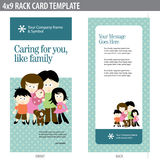 4x9 Rack Card Brochure with family. 4x9 Rack Card Brochure Template (includes crop marks, bleeds, and key line - elements in layers vector illustration