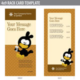4x9 Rack Card Template. Front and back with Minah bird stock illustration
