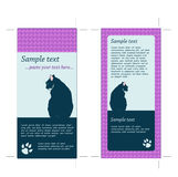 4x9 Two Sided Rack Card. Violet Color Illustrated promo Card vector illustration