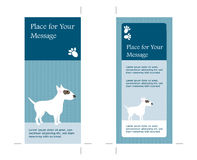 4x9 Two Sided Rack Card. Blue Color Illustrated promo Card with Bull-Terrier stock illustration