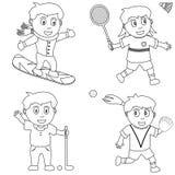 5个上色孩子体育运动 库存照片