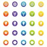 5个五颜六色的图标导航万维网 免版税库存图片