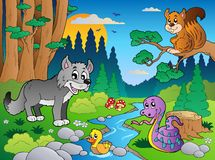5个动物多种森林场面 免版税库存图片
