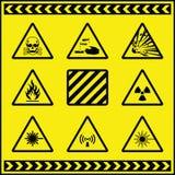 5个危险等级符号警告 免版税库存图片
