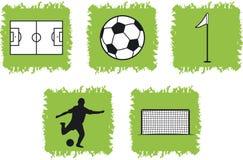 5个图标足球符号 免版税图库摄影
