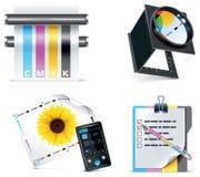 5个图标零件打印集合界面向量 免版税库存图片