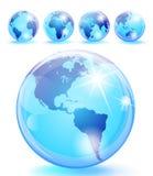 5个地球光滑的大理石行星视图 库存例证