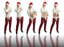 5个女孩帽子姿势圣诞老人 免版税库存图片