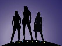 5个女孩被设置的剪影 皇族释放例证