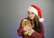 5个女孩辅助工s青少年的圣诞老人 免版税库存照片