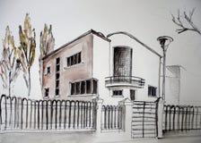 5个房子草图 免版税库存照片