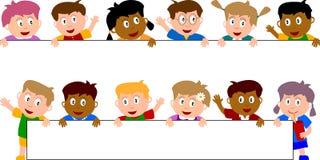 5个横幅孩子 免版税库存图片