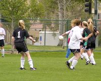 5个比赛女孩足球 库存照片