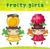 5个水果的女孩系列 库存例证