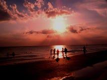 5个海滩日落 免版税库存照片
