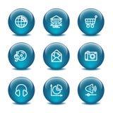 5个球玻璃图标设置了万维网 免版税图库摄影