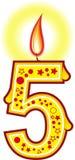 5个生日蜡烛 免版税图库摄影