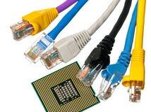 5个电缆猫颜色cpu多个 库存照片