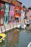 5个burano城市色的房子一千 库存图片