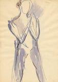5位芭蕾舞女演员图画 图库摄影