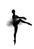 5位芭蕾舞女演员美丽的影子剪影 免版税库存图片