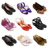 5双女性多彩多姿的鞋子 免版税库存图片