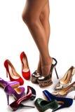 5双行程鞋子 免版税图库摄影