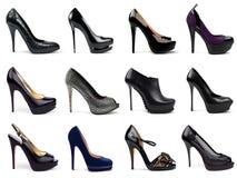 5双黑暗的女性鞋子 免版税库存图片