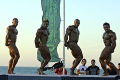5建身的冠军下潜迪拜天空 库存照片
