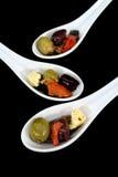5把开胃小菜匙子 图库摄影