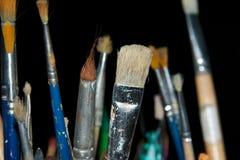 5把油漆刷 免版税图库摄影