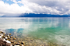 5日内瓦湖横向洛桑瑞士 免版税库存图片