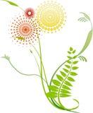 5朵花漩涡 向量例证