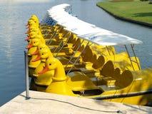 5条小船鸭子 免版税库存照片