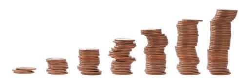 5枚分硬币欧元台阶 库存照片