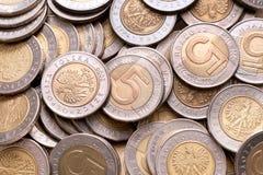 5枚背景硬币pln波兰 免版税库存图片