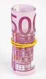 5欧元卷起了一千 库存照片
