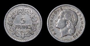 5法郎古色古香的硬币  免版税库存照片