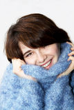 5蓬松女孩毛线衣 库存照片