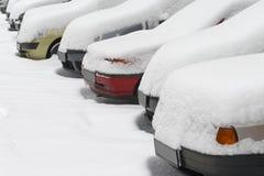5辆汽车冬天 库存图片