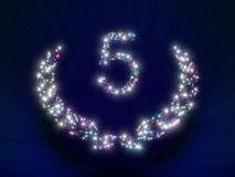 5 årsdagnummerstjärnor Arkivfoto