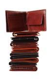 5 απομονωμένα πορτοφόλια σ Στοκ Εικόνες