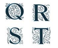 5 γράμματα ornam W φύλλων Στοκ Εικόνες