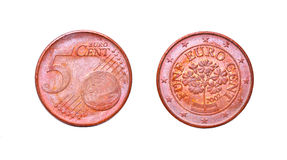 5 ευρώ πηνίων σεντ Στοκ Φωτογραφίες