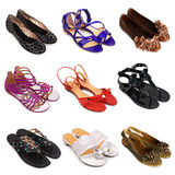 5 θηλυκά πολύχρωμα παπούτσια Στοκ εικόνες με δικαίωμα ελεύθερης χρήσης