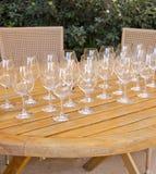 5 σειρές δοκιμάζοντας κρασιού Στοκ Εικόνες