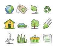 5 φρέσκα πράσινα εικονίδια &si Στοκ φωτογραφία με δικαίωμα ελεύθερης χρήσης