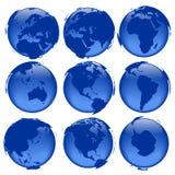 5 взглядов глобуса Стоковое Изображение RF